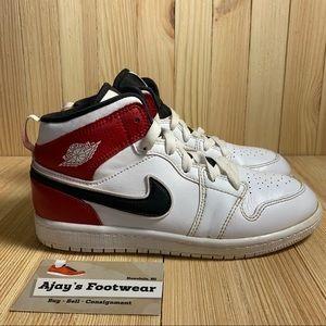 Nike Air Jordan 1 Mid Retro Youth White Red Shoes